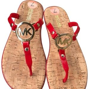 NEW Michael Kors Red & Gold Sandals Jelly Cork